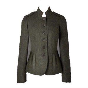 Boden olive military tweed peplum blazer, sz 12